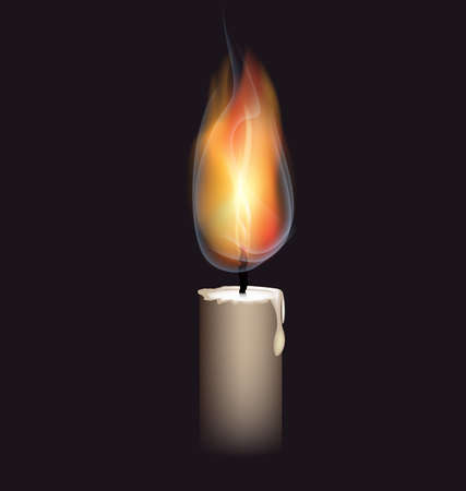 auf einem schwarzen Hintergrund ist eine große brennende Kerze