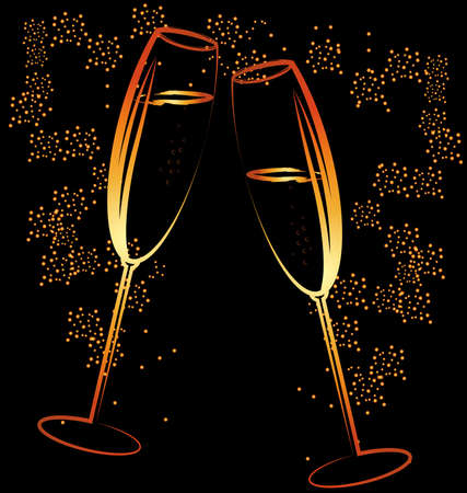 felicitate: on a dark background is an abstract painting: two celebratory glass of champagne