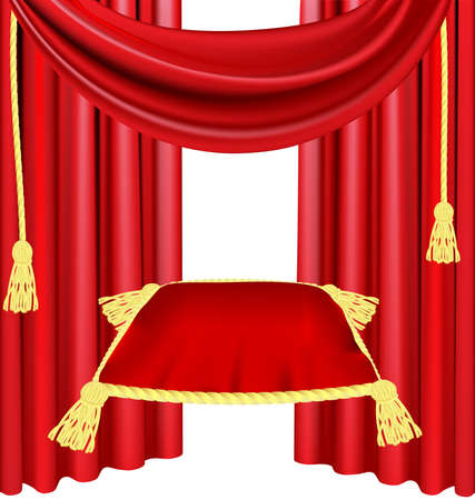 against the red curtain is a large red ceremonial pillow Illustration