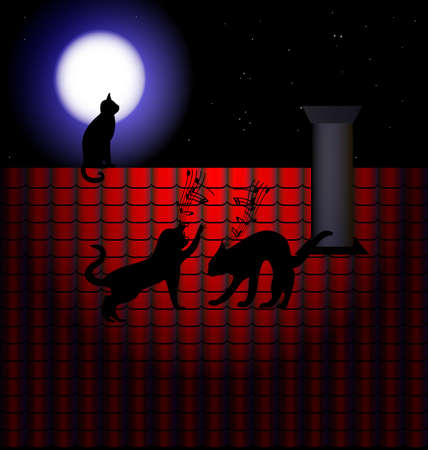assignation: against the starry sky has a red tile roof, where they fight two cats Illustration