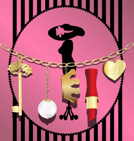 jewelery: on an abstract background of a gold chain with pendants: a key, crown, a pearl, heart, and lipstick Illustration