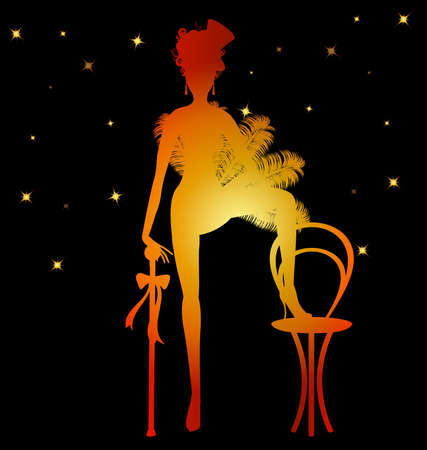 on black background is a color silhouette cabaret dancer girl Illustration