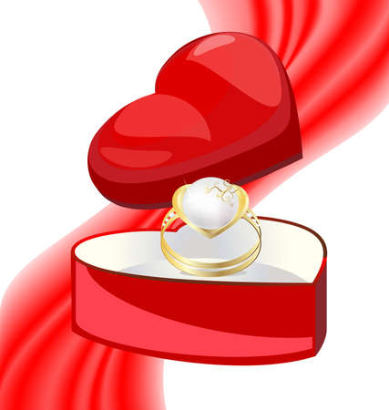 felicitate: on a red background miniature gift box is a heart-shaped, in it a gold pearl ring Illustration