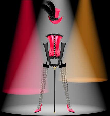 auf einem schwarzen Hintergrund in Multi-Colored Licht tanzt Kleidung Kabarettist Illustration