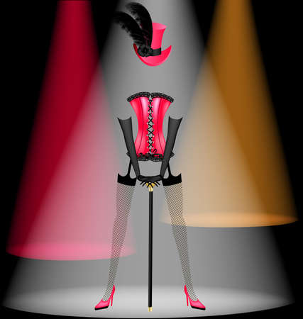 on a black background in multi-colored light is dancing clothes cabaret artist Illustration