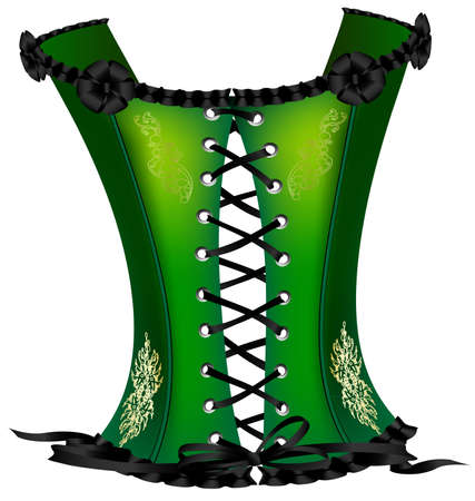corsage: on a white background is a big green corset decorated with black tape and golden ornament