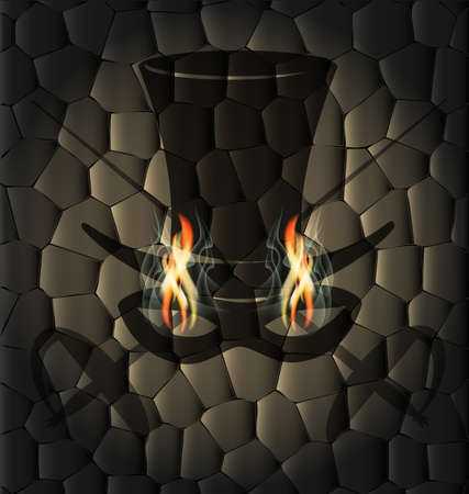 the stranger: against the stone wall is an abstract silhouette of a head of black stranger with burning flame eyes