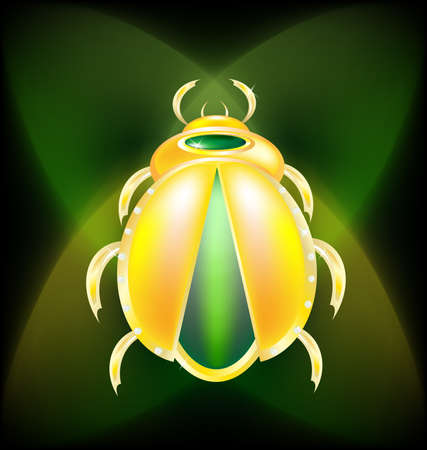 scarab: on a dark-green background is a large golden beetle Illustration