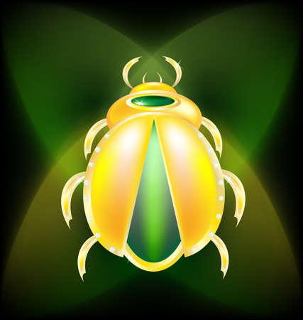 scarabeo: su un verde scuro di fondo � uno scarabeo d'oro di grandi dimensioni