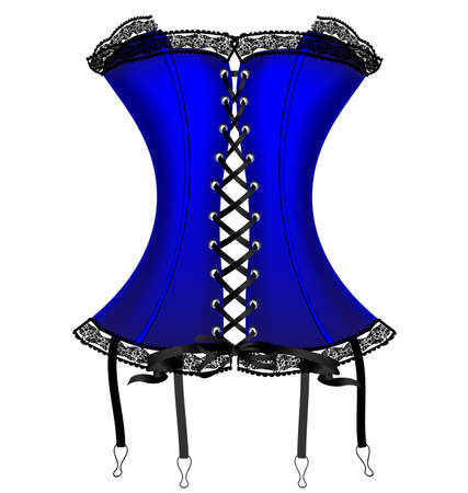 curvy: on a white background is a big blue corset decorated with black lace Illustration
