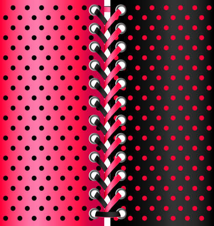 vintage weaving: multi-colored lacing between black and red fabric Illustration