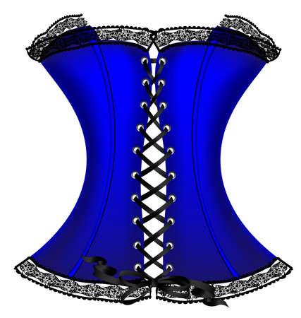 flirty: su sfondo bianco � un grande blu scuro corsetto decorato con pizzo nero