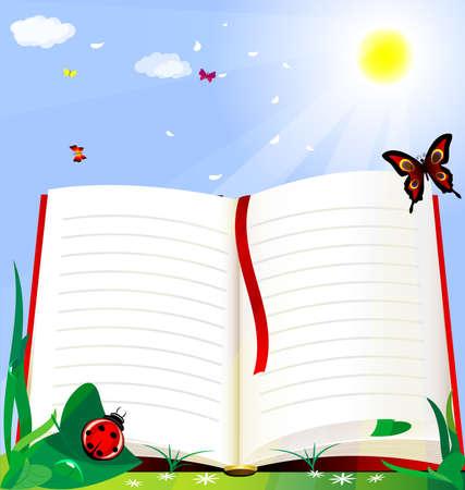 オープンエア: 太陽の緑の草の背景は大きい開いた本です。  イラスト・ベクター素材