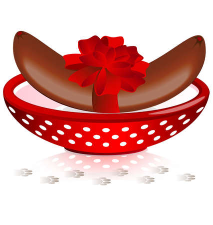 felicitate: on a white background is a big red bowl of delicious sausage, tied with a red bow, close to the traces of a pet Illustration