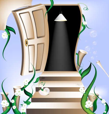 against the blue cloudy sky and the flowers have a staircase leading to the open door into the darkness Vector