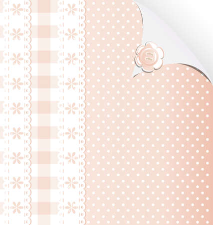 rounde: beige and white background, simulating cloth and lace Illustration