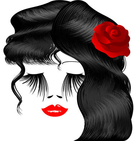 on a white background is outlines womans face with red rose in her black hair Vector
