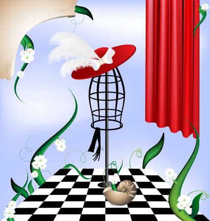 en el cielo azul es una imagen abstracta de terreno en blanco y negro, maniquí de una extraña dama, césped, flores, un trozo de la pared Ilustración de vector