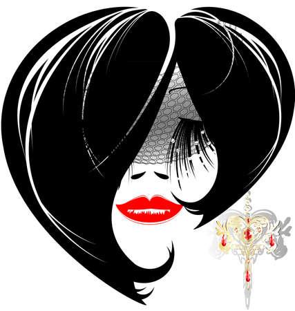 auf weißem Grund ist Konturen Frau Gesicht mit Schmuck-Ohrring