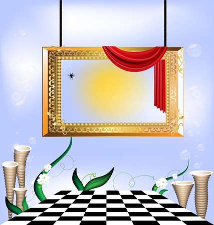 curtian: in the blue sky is an abstract image of black-and-white ground and large golden portrait frame with red drape