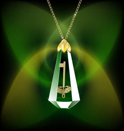 on an abstract green background of a crystal on a gold chain, inside a golden key