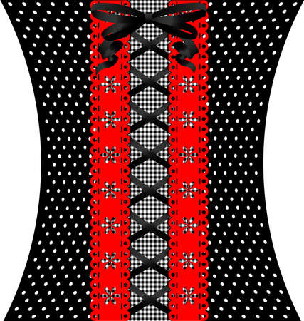 black lacing between red lace and black-white fabric with pattern