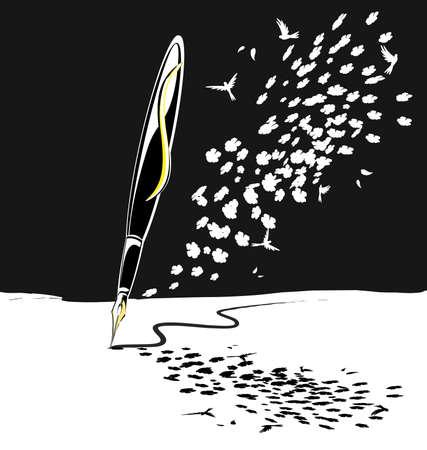 sobre un fondo blanco negro con motivo floral es abstracto escribir pen Ilustración de vector