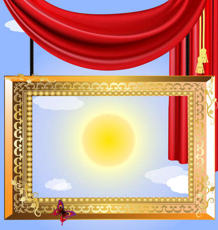 curtian: in the blue sky is large golden portrait frame with red drape Illustration