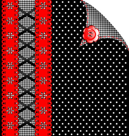 rounde: black and red-white background, simulating cloth and lace, decorated with red button Illustration