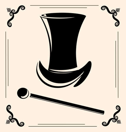 on vintage background is outlines mans hat with feathers and cane Vector