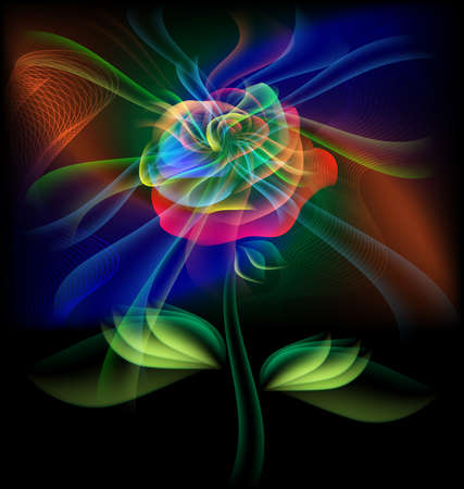 single color image: on a black background is multi-colored translucent flower