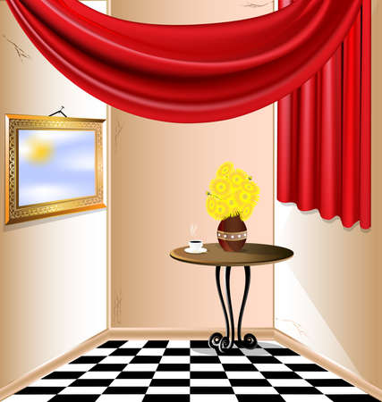 curtian: sunny room with no roof, red drapery, a table, a cup of hot coffee, a vase of yellow flowers and the sky in a frame on the wall