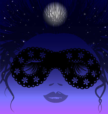 sleepy night in the image of a womans face in a black half-mask Vector