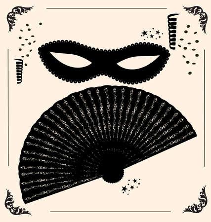 attribute: op vintage achtergrond is contouren carnaval masker en fan Stock Illustratie