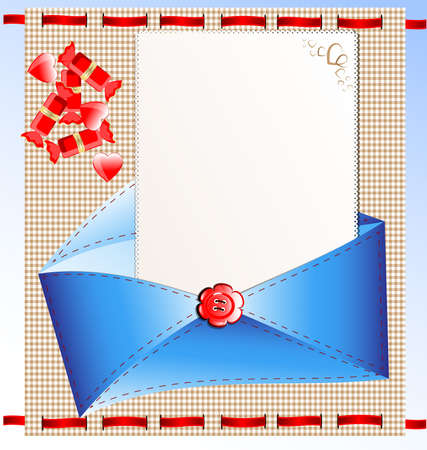 writing materials: checkered cloth with red ribbons, a blue envelope with a red button, inside which there is a blank sheet of paper, next to a red candy Illustration