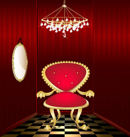 trono real: en una estrecha habitaci�n roja con ara�a de cristal y el espejo tiene un sill�n rojo-oro viejo ceremonial Vectores