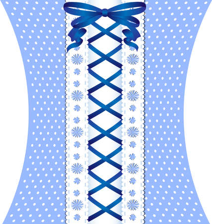 vintage weaving: blue lacing between white lace and blue-white fabric Illustration