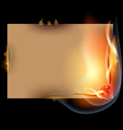 on a black background is the burning old paper Vector