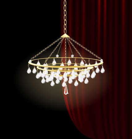 curtian:  against the dark-red curtain is crystal golden chandelier