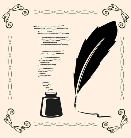 writing letter: on vintage background is outline pen and ink Illustration