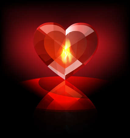 crimson: on a dark background a big scarlet flaming heart-crystal