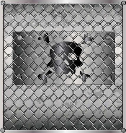 metallic background - sheet metal behind bars Vector