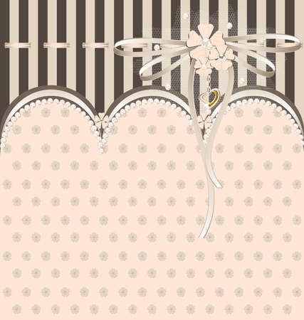 background fantasy brown-beige: tissue, lace and ribbons Illustration