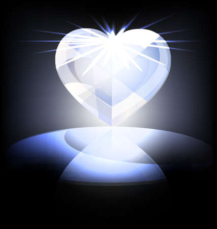 illuminator: on a dark background is a big ice heart-crystal