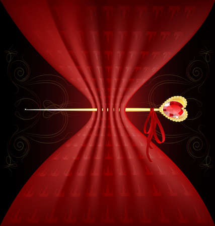 background fantasy: red tissue and golden pin Vector