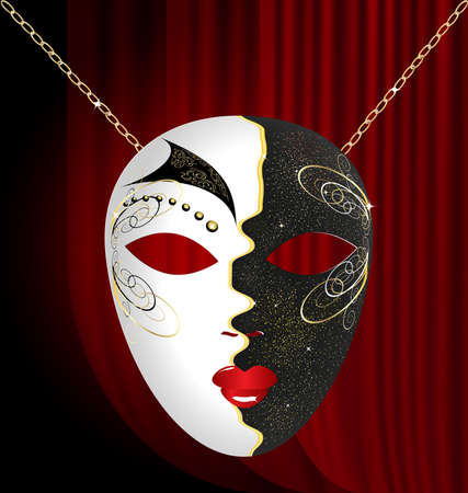 on an red drape is a large black-white venetian mask with black and gold ornament