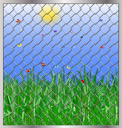 iron bars:  blooming green meadow, butterfly and ladybug grass behind iron bars Illustration