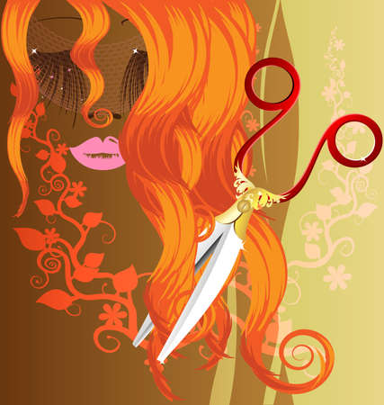she: on a brown background with an abstract floral ornament are a red-haired female image and large scissors