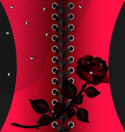 rounde: against a background of red cloth with black lace is an abstract black rose and black veil
