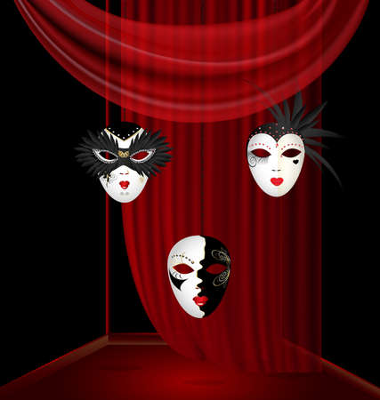 in red-black box on an red drape are three large black-white venetian mask